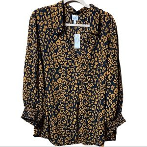 Dress barn Navy and Gold Leopard Loose Blouse